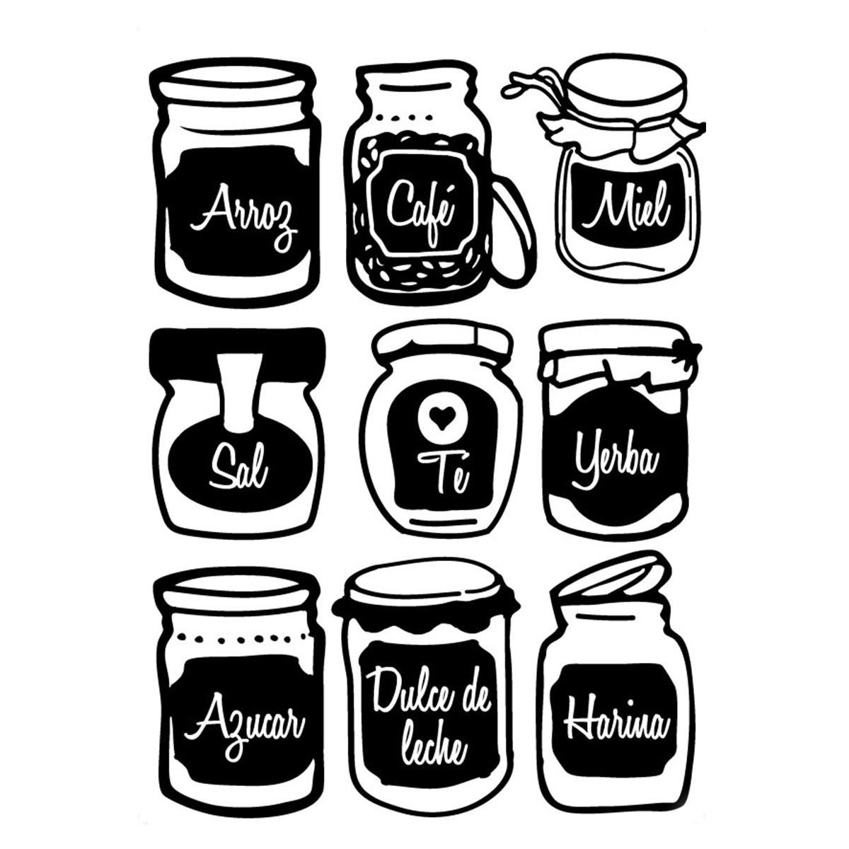 Pack de vinilo frascos de cocina - Como poner vinilo en cristal ...